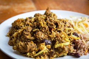 Jamaican Curried Goat and rice