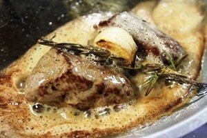 cooking lamb in hot pan